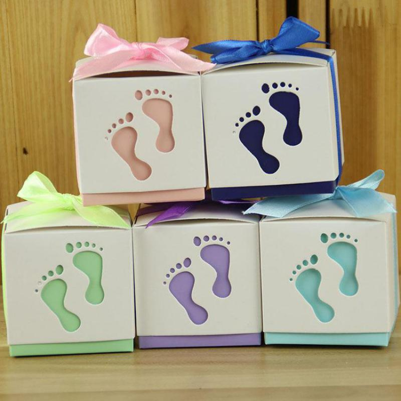 Detalles Para Bautizo Con Foto.Us 25 98 30 Off Baby Footprints Shape Candy Box Kids Birthday Gift Boxes Dragees Baby Naissance Shower Party Detalles Para Bautizo Christening In