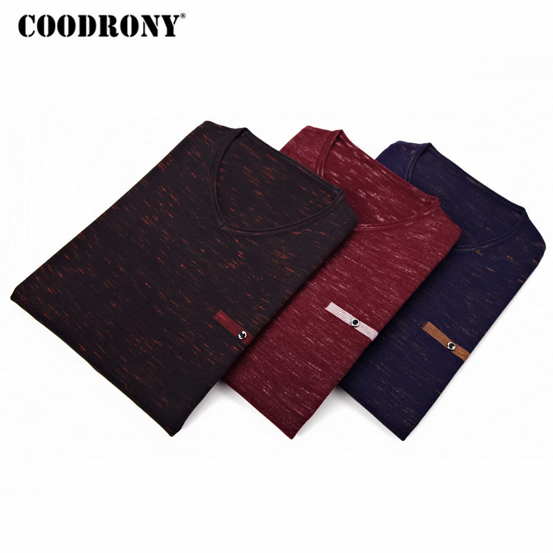 COODRONY Sweater Men Clothes 2018 New Autumn Thin Pull Homme Cotton Pullover Sweaters Men Casual V-Neck Shirt Jersey Hombre 8124