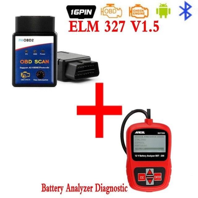 elm327 bluetooth ELM 327 Version 1.5 OBD2 / OBDII for Android Torque Car Code Scanner 25k80 +Car Battery Analyzer Diagnostic