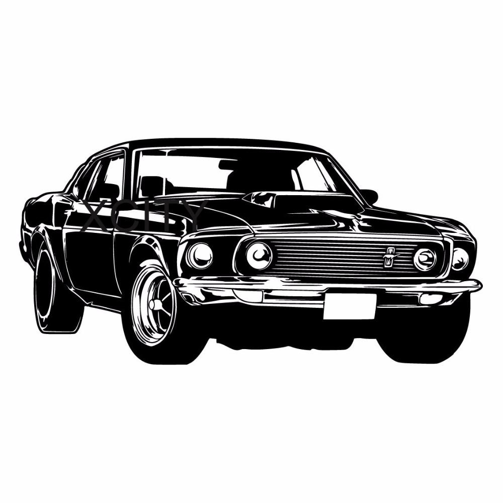 Retro car old ford mustang wall vinyl sticker decal decor school dorm living room bedroom home office mural stencil in wall stickers from home garden on