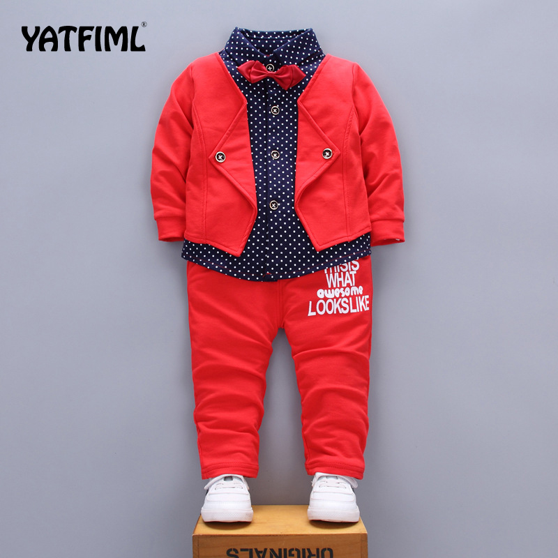 TATFIML New Year's Costume For A Boy, Top And Pants Set Wedding Suits For Boy Formal Dress, Kids Boy Outfits England Style
