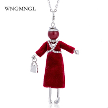 WNGMNGL 2018 New Ethnic Sweater Coat Crystal Red Black Color Long Silver Chain doll Pendant Necklaces For Women Fashion Jewelry
