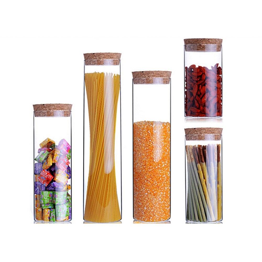 5 PCs/set Transparent glass jars Seal jars Grains storage Bottles spice jar kitchen storage cans Kitchen Storage Organization