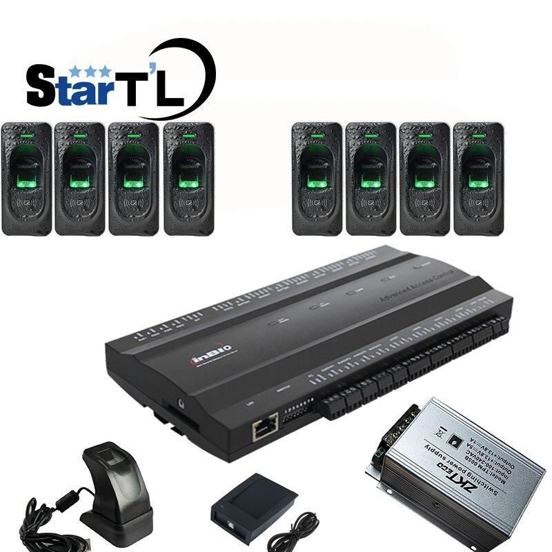 Inbio460 fingerprint carta di Rfid Sistema di Accesso pannello di controllo di accesso A Quattro Porte di Accesso + FR1200 Lettore di impronte digitali + 12V5A di Alimentazione