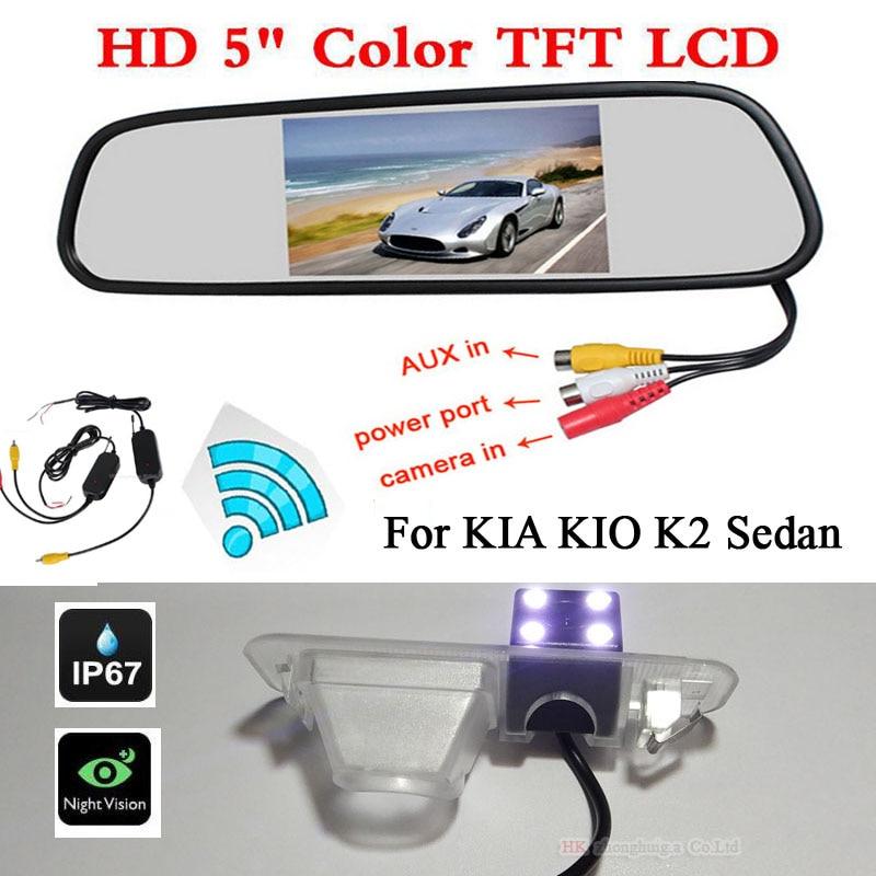 Wireless 3 in 1 Car Backup HD Rearview Camera For CCD Kia Rio K2 Sedan + 5 Digital 800*480 HD LCD car Mirror Monitors Parking