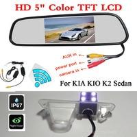 Wireless 3 In 1 Car Backup HD Rearview Camera For CCD Kia Rio K2 Sedan 5