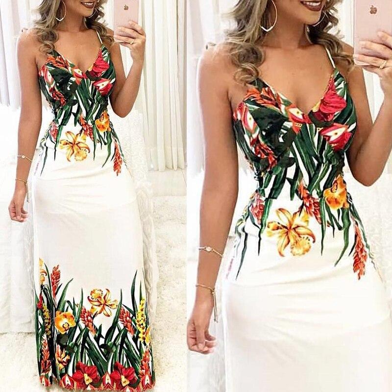 HTB1gCRuuMKTBuNkSne1q6yJoXXa9 Fashion Women Summer Floral Sleeveless Strap V neck Boho Dress Casual Long Maxi Evening Party Beach Dress Sundress
