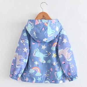Image 5 - New Spring Girls Jackets And Coats Hooded Unicorn Rainbow Pattern Kids Windbreaker Jackets Autumn Jackets For Girl Children Coat