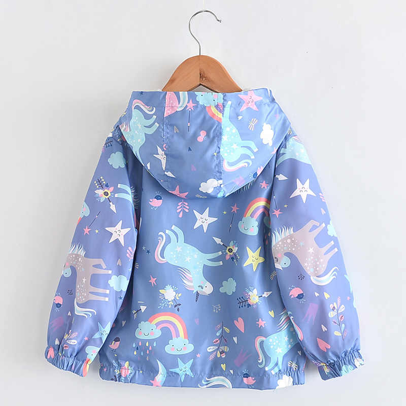 8654f23b8 ... New Spring Girls Jackets And Coats Hooded Unicorn Rainbow Pattern Kids  Windbreaker Jackets Autumn Jackets For