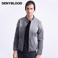 Denyblood Jeans Mens Knitted Denim Jakcets Bleached Darked Wash Grey Jeans Jacket 2017 New Design Men Jackets Coat European 1080