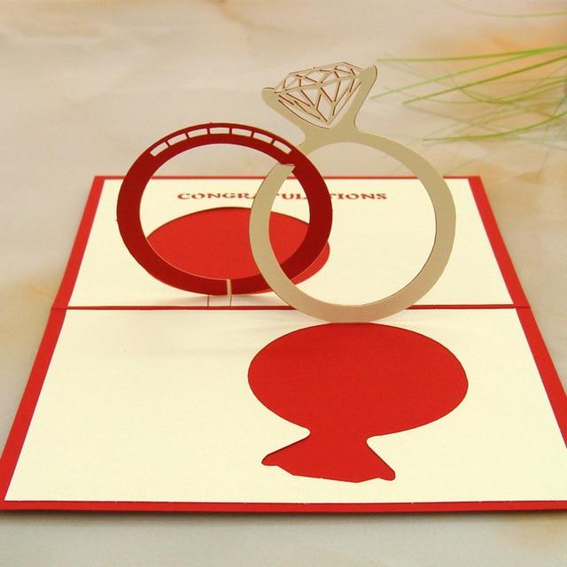 10pcslot laser cut 3d cubic engaged rings valentines day greeting 10pcslot laser cut 3d cubic engaged rings valentines day greeting card wedding invitations m4hsunfo