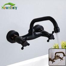 Newly Classic Antique Brass/Black Bronze Basin Faucet Bathroom Sink Tap Waterfall Spout Mixer Faucet Wall Mount