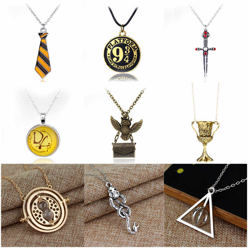 Hot Dumbledore Voldemort Magic Wand Pendant Necklace Deathly Hallows Golden Snitch Time Turner Charm Necklace Triangle Necklace