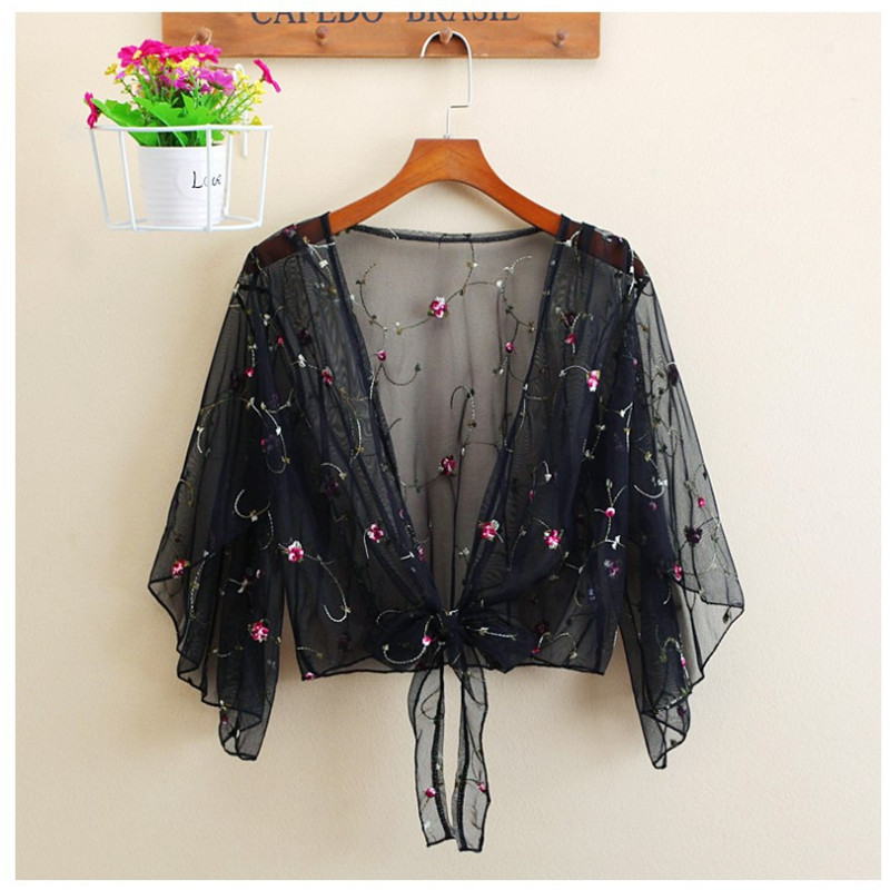 New Fashion Womens Ladies Casual Full Long Sleeve Tops Blouses Cover Up Floral Beach Style Summer Mesh Short Top Cardigan