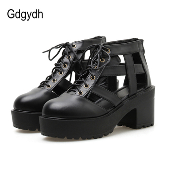 Gdgydh Hollow Out Gladiator Sandals Women Heels Lace Up Square Heels Summer Shoes Female Footwear Zipper Ladies Casual Shoes 2019 gladiator women sandals wedges high heels sandals spring summer brown black female shoes casual lady shoes woman footwear