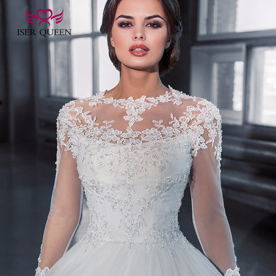 Bright Sequin Lace Ball Gown Wedding Dresses New 2019 Full Sleeve Embroidery Appliques Court Train Bridal Wedding Gowns W0049
