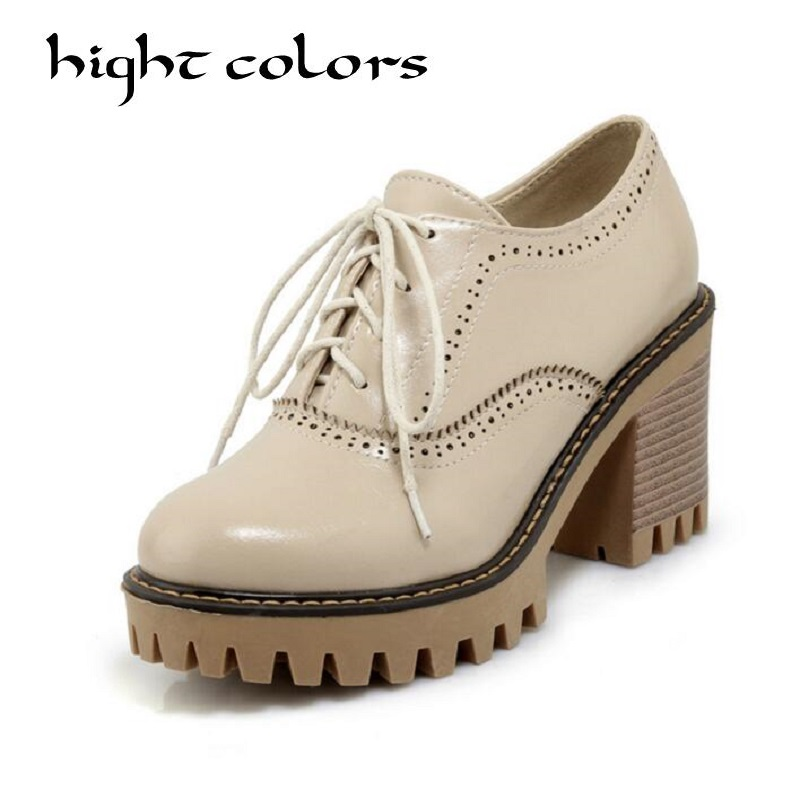2018 Spring Platform Bullock Student Shoes Woman Thick Heels Oxford High Heel Shoes For Women Creepers Casual Shoes Pumps 40-43 2018 spring new design women shoes high heels thick soled platform shoes lace up bullock style mid heel big size sweet girls
