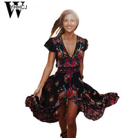 WYHHCJ 2017 Deep V Neck Ethnic Style Summer Dress Short Sleeve Beach Bohemia Vintga Long Women