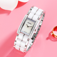 OUPAI Fashion Square Ceramic Women Watch Rectangle Sapphire Swiss move Watch Lady Water Resistance Diamond Fashion Watch Woman