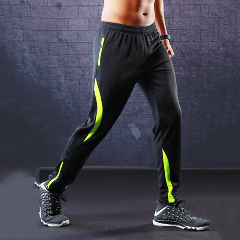 Jogging Football Pants Men's Boys Sports Running Leggings Pants Zipper Pocket Football Soccer Pants Gym Sports Training Trousers