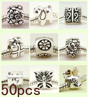 Wholesale 925 Solid Sterling Silver Bead Beads Charm Charms Fit For European Bracelet 50 Pcs Mixed Lot Free Shipping Screw