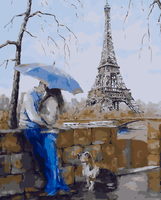 Frameless Couple Kissing With Pet DIY Oil Paint Painting By Numbers Diy Picture Drawing Coloring On