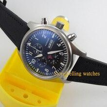Parnis 42mm black dial date week Luminous Full chronograph quartz men's watch