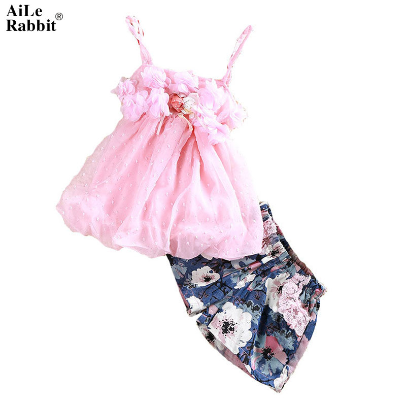 AiLe Rabbit Summer Hot Girl Suits Sling T-shirt + Shorts 2 Pieces Petal Chiffon tops Floral Pants Children's Flower Set Fashion стул coleman summer sling 205147