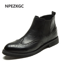 NPEZKGC Autumn Winter Genuine Leather Ankle Chelsea Boots Men Shoes With Vintage Classic Male Casual Motorcycle Boot