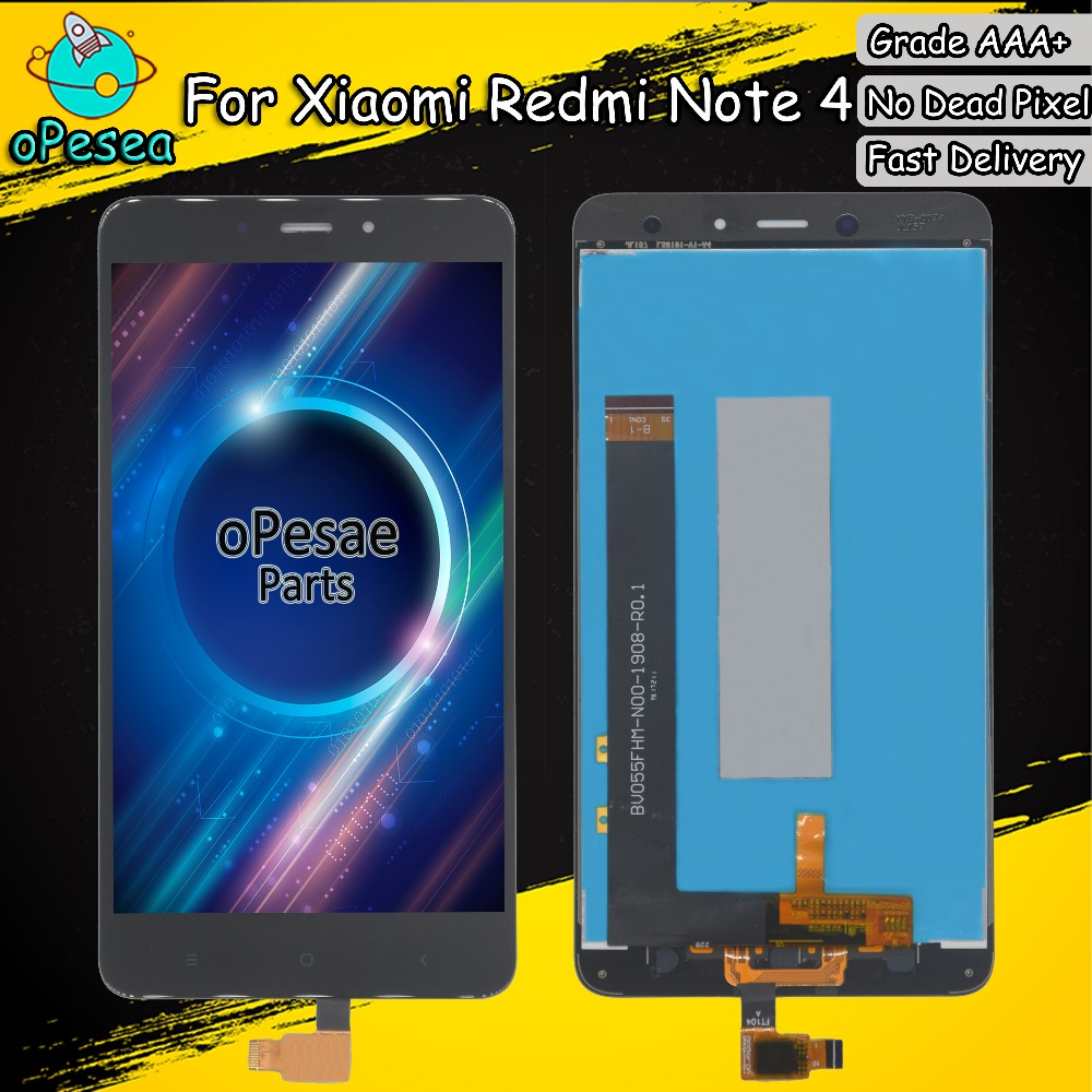 oPesea 5.5'' For <font><b>XIAOMI</b></font> <font><b>Redmi</b></font> <font><b>Note</b></font> <font><b>4</b></font> LCD Display Panel Touch <font><b>Screen</b></font> Digitizer Glass Assembly With Frame MTK MediaTek Helio X20 image