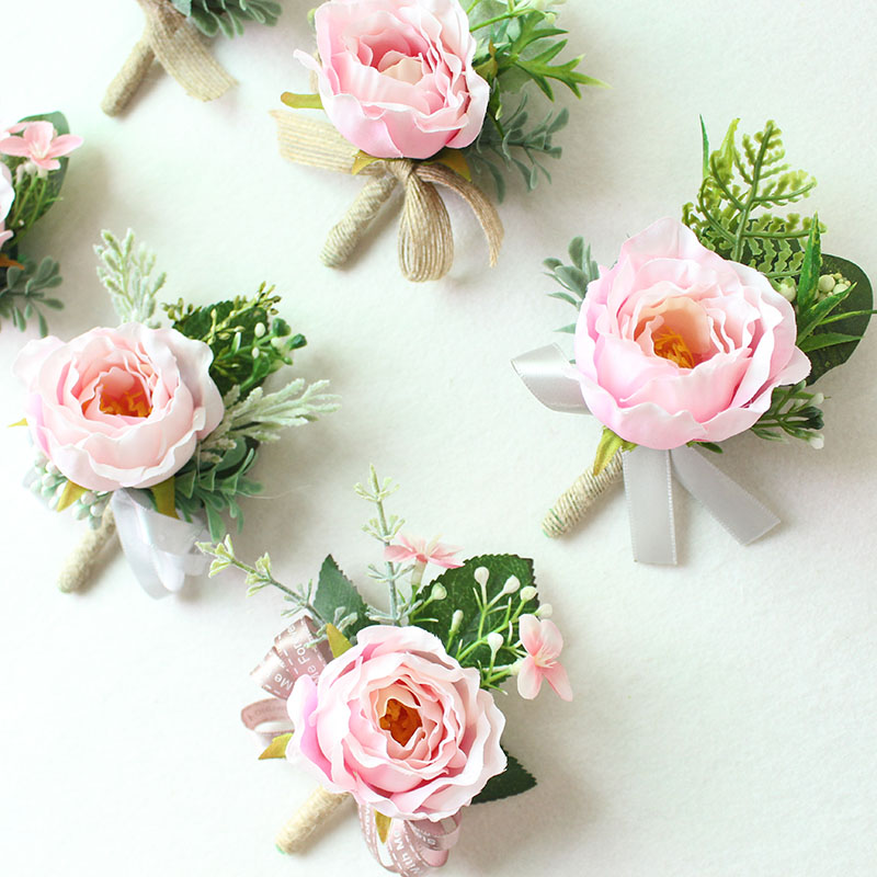 pink roses silk corsages boutonnieres groom wedding corsage for men  (5)