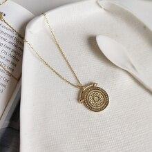 Louleur 925 Sterling Zilveren Ronde Veins Ketting Goud Prachtige Patroon Nieuwe Trendy Textuur Hanger Ketting Voor Vrouwen Sieraden