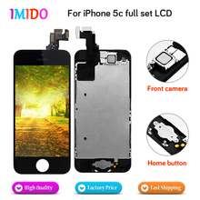 цены на 50Pcs Wholesale Full Set For iPhone 5C LCD Display Home button+Front camera Touch Screen Digitizer Assembly Free DHL Shipping  в интернет-магазинах