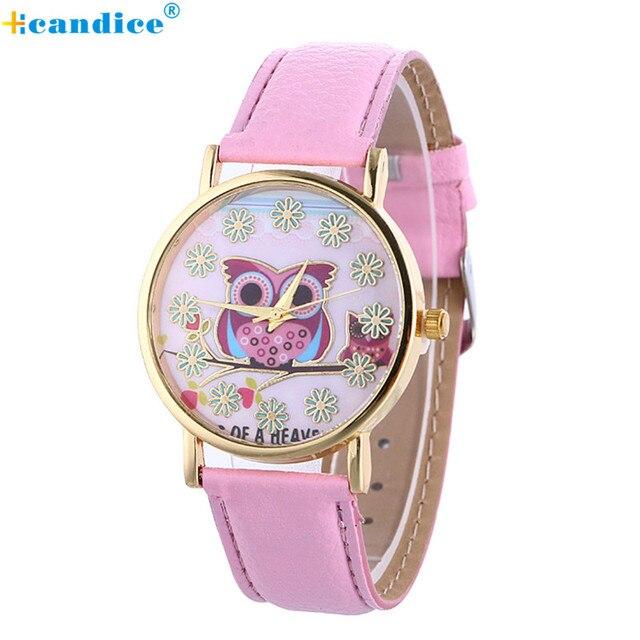 Watch Reloj relogio masculino 2017 Fashion Women Leather Owl Pattern Quartz Analog Wrist Watch Crystals   Clock 17apr29