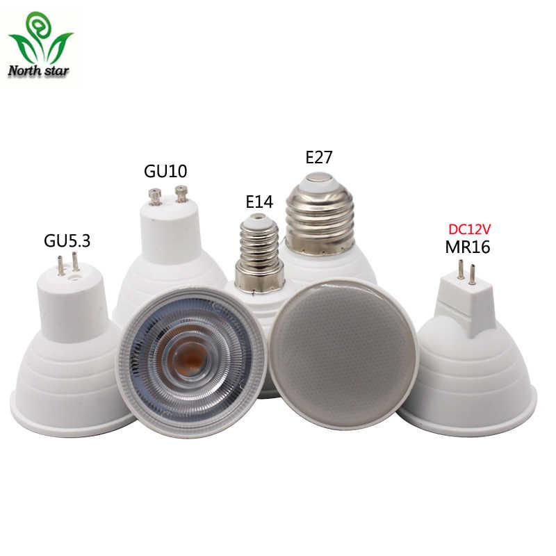 10 шт. светодиодный свет с лампочкой GU10 9 W 220 V 230 V светодиодный MR16 12 V COB Чип 60 120 градусов Светодиодный прожектор для светильник Настольная лампа