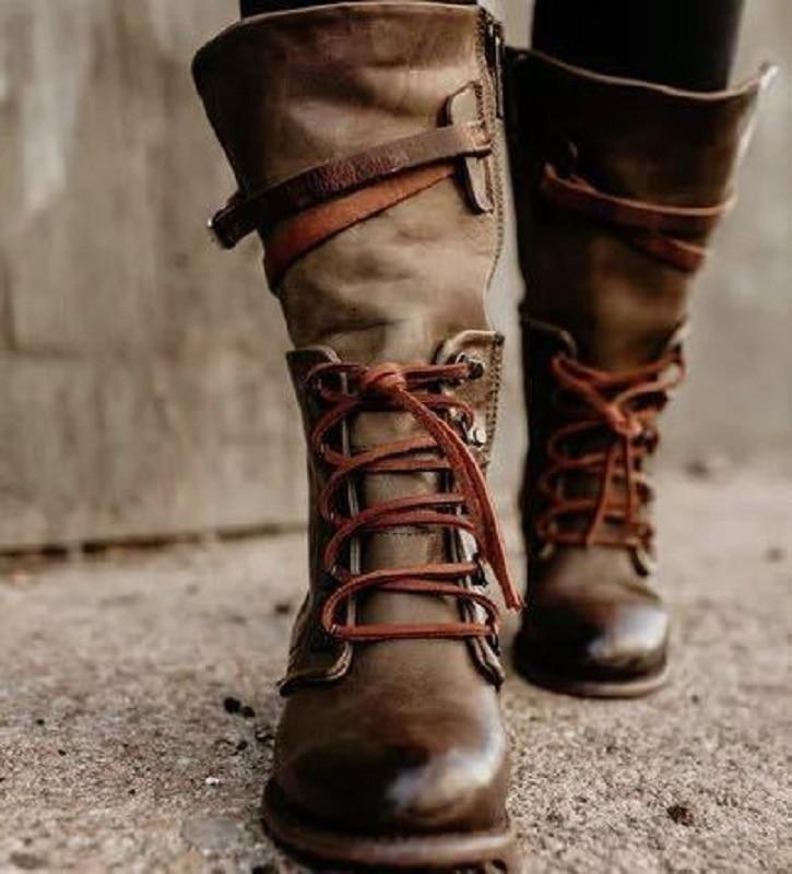 Lace-Up Boots Buckle Calf Strap-Zip-Platform Women Shoes Vintage Autumn Winter Ladies