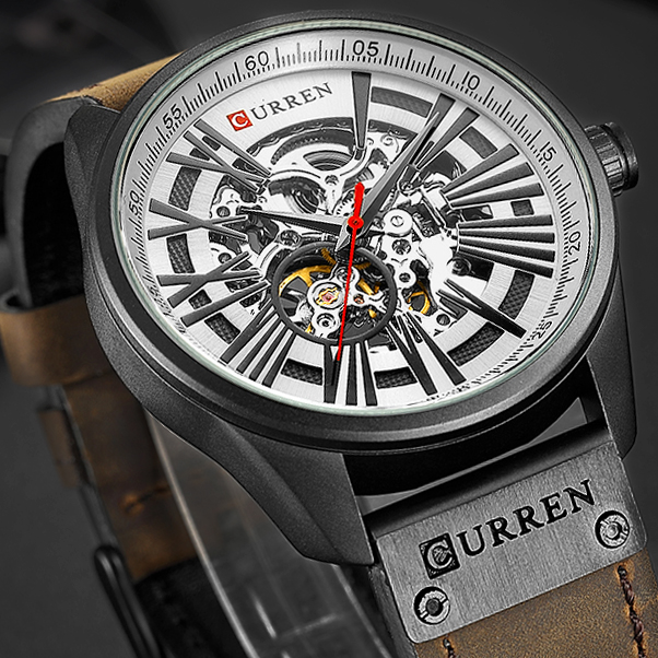 New CURREN Watch Men Skeleton Tourbillon Mechanical Watches Male Leather Automatic Self wind Sports Clock Relogio