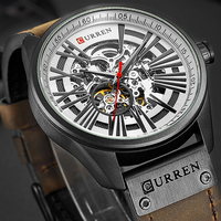 Curren relógio masculino  novo relógio mecânico turbilhão esqueleto masculino relógios auto-vento automático para esportes