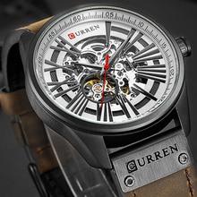 New CURREN Watch Men Skeleton Tourbillon Mechanical Watches