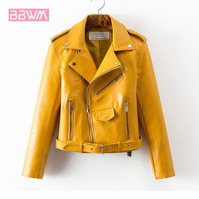 purchase cheap 6787f 7e02f Leder jacke damen herbst 2018 neue Koreanische mode kurzen abschnitt taille  Pu leder wilden frauen Gelb rosa schwarz mantel