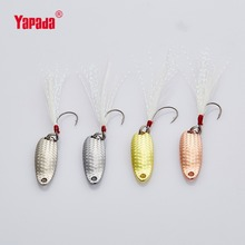 YAPADA Spoon 007 Loong Scale Single HOOK+Feather 3.5g/5g 32mm/34mm 6piece/lot Multicolor Metal Spoon Fishing Lures