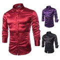 new 2015 Autumn Unique Simulation Silk Glossy long-sleeved shirts men casual slim fit wine red shirts for men,size M-2XL