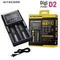 Carregadores de bateria nitecore d2 lcd display digital inteligente li-ion banco de potência aa aaa 14500 16340 26650 carregador de baterias 18650