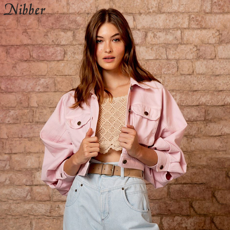 Nibber 2019autumn pink short cargo coat women fashion high street casual Thin Bomber   jacket   ladies loose Slim   Basic     jacket   mujer