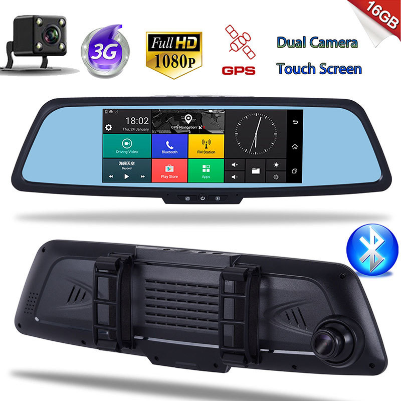 Car GPS Android Camera Mirror Reaview Bluetooth 1080P 3G A11 7-DVR Video-Recorder Free-Map