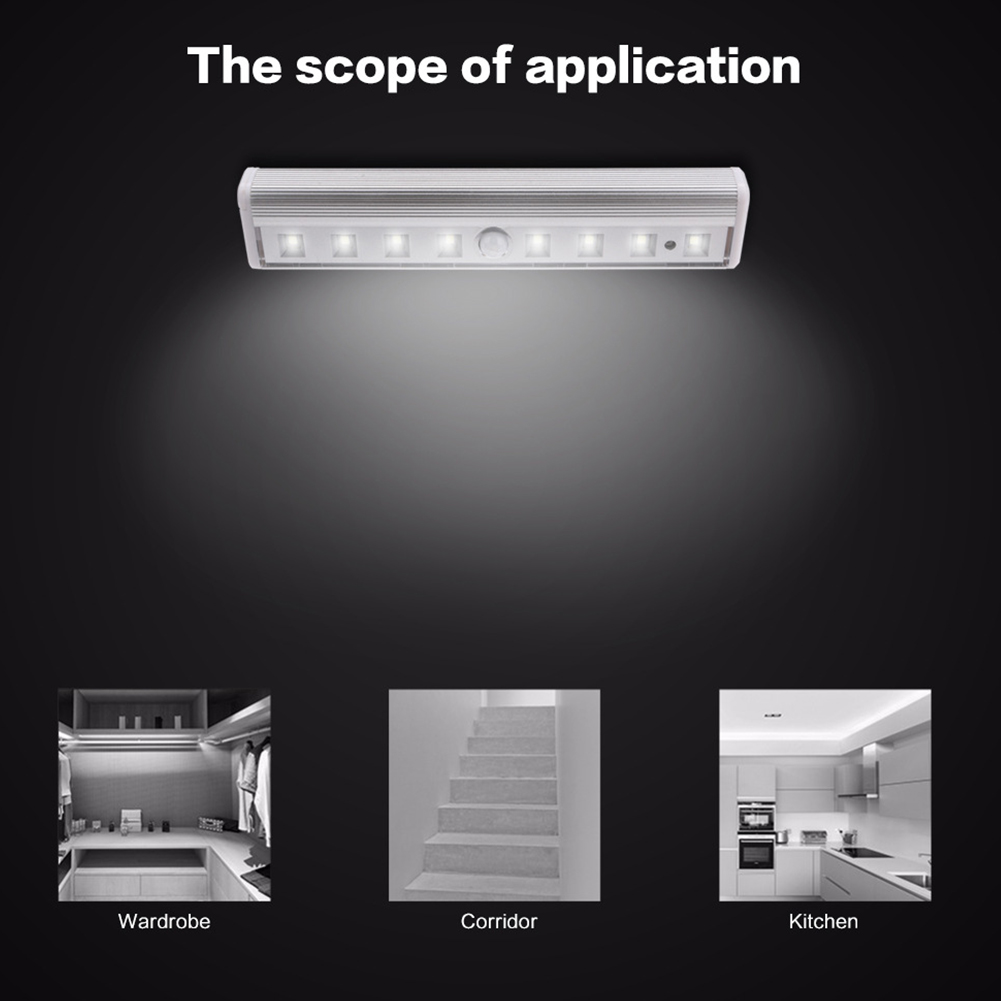 8 Leds Night Light Motion Sensor Home Draadloze Muur Magnetische Infrarood Pir Batterij Operated Closet Hal Intelligente Automatische