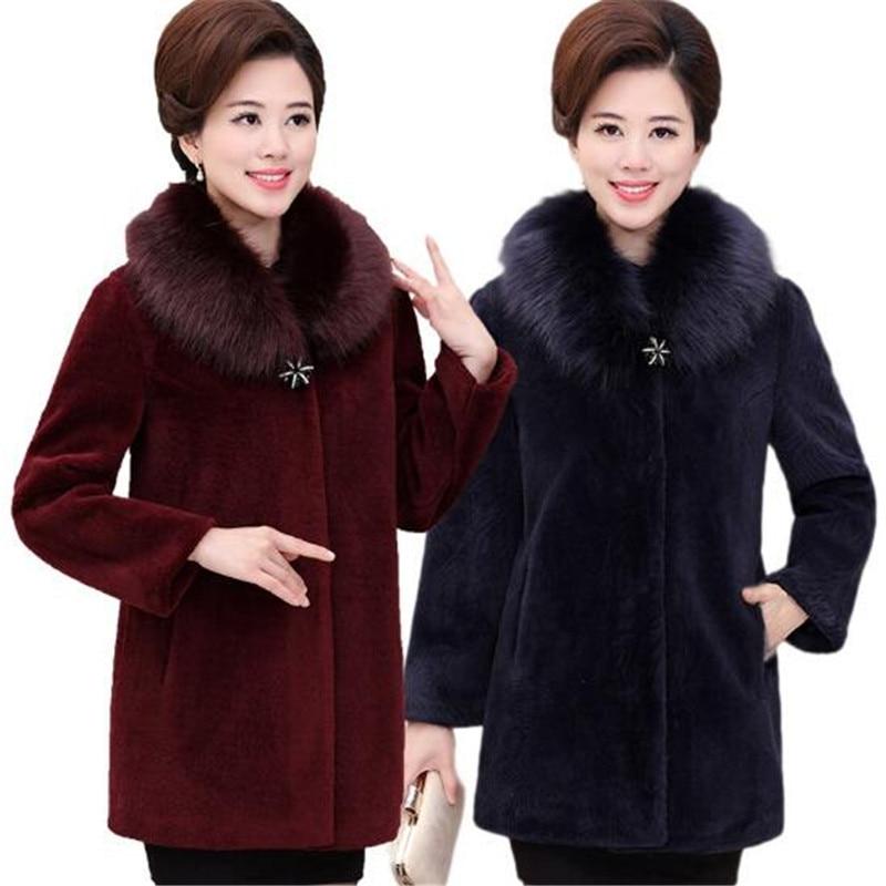 2019 Women`S Faux Mink Fur Coat Long Sleeve Thick Warm Clothing Winter Outwear Wine Red For Women Fur Jacket Black A3939