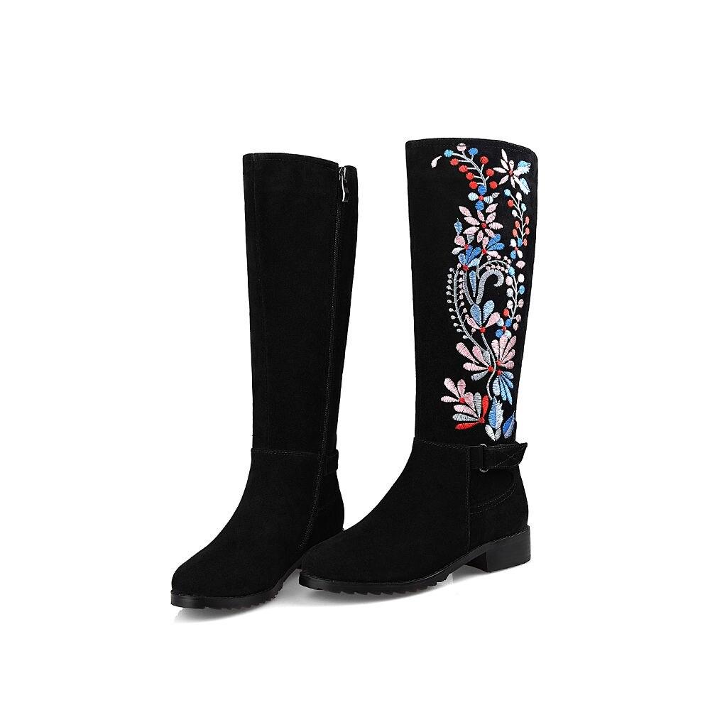 Black Med Talons Chaussures Superstar Marque L55 Bout Genou Broderie Zip Leather Cuisse Haute Le Folk 2018 Femmes Sur black Fleurs Dame Rond De Bottes n0vOwN8m
