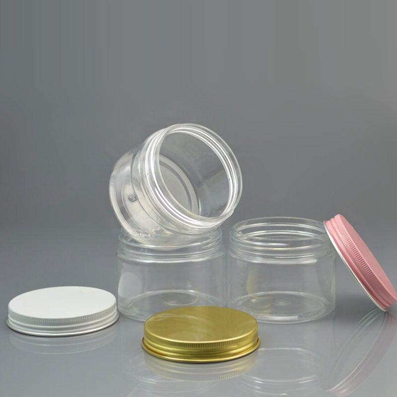 Refillable Bottles 30 X 150g Empty Transparent Personal Care Cosmetic Cream Container White Pink Gold Aluminum Screw Cap Pet Tin Tea Pot Food Jar Skin Care Tools
