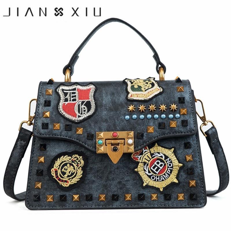 2018 Ins New Leather Women Bags Luxury Handbags Women Bags Designer High Quality Ladies Shoulder Bag Rivet Cover Messenger Bags